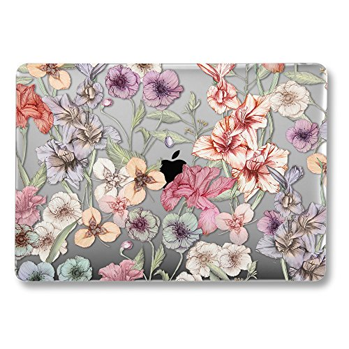 GMYLE MacBook Latest Pro Touch Bar 13 Inch A1989/A1706/A1708 (2016,2017,2018 Release) Case, GMYLE Hard Plastic See Through Clear Glossy Scratch Guard Cover Compatible Apple Mac Pro 13 - Floral Garden