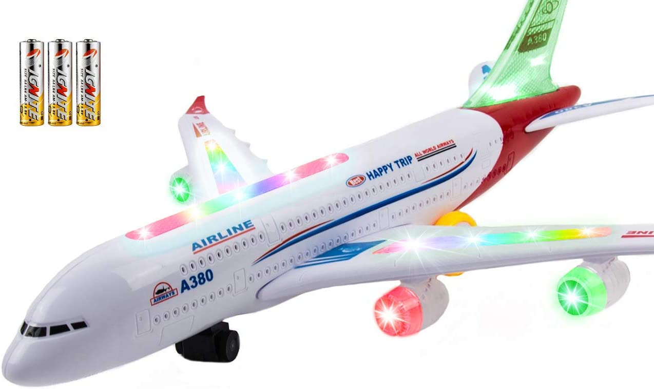 KIDS AEROPLANE AIRPLANE 3D LIGHT UP MUSIC TOY BUMP /& GO ACTION