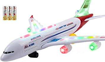 LED Display Airplane Toy Educational for 3 Learn English /& Arabic Kids Blue