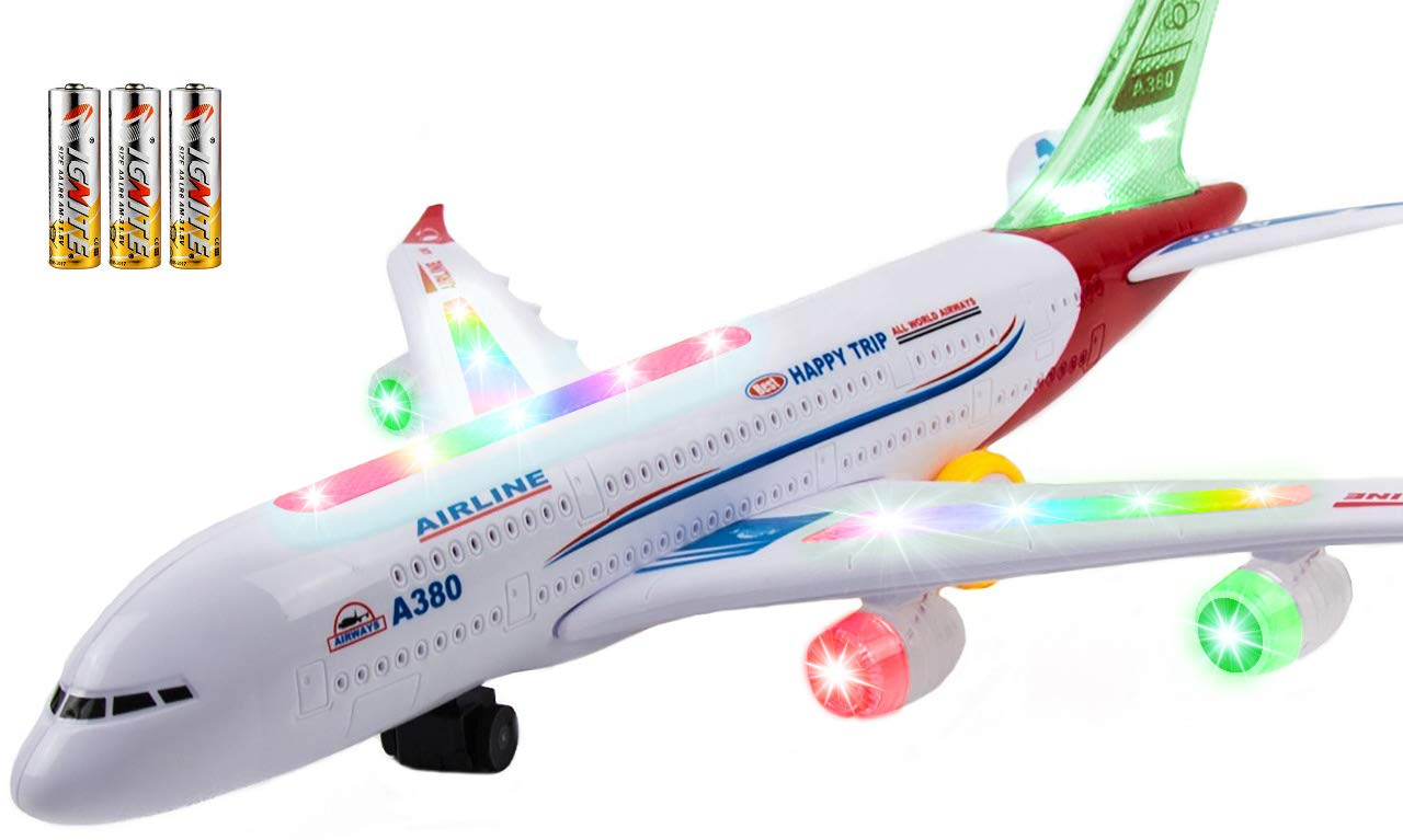 Toysery Airplane Toys for Kids with Bump and Go Action - Airbus A380 Toy Planes for Boys and Girls with Flashing Lights, Real Jet Sound, 3 AA Batteries Included by Toysery