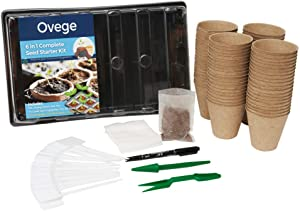 Ovege 6-in-1 Garden Seeds Starter Kit with 80 Peat Pots for Seedlings, Plastic Growing Tray with Propagation Dome, 20 Seed Bags, 20 Plant Labels, and 2 Herb Garden Tools for Beginners
