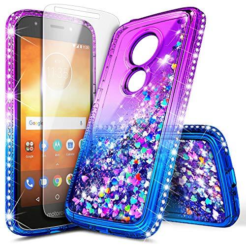 Motorola Moto E5 Case (XT1920DL), Moto G6 Play/Moto G6 Forge with Tempered Glass Screen Protector, NageBee Glitter Liquid Waterfall Women Kids Girls Durable Cute Case -Purple/Blue