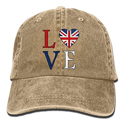 Brown Union Jack - I Love Britain British Flag Heart1-1 Unisex Baseball Cap Cotton Denim Adjustable Hunting Cap for Men Women