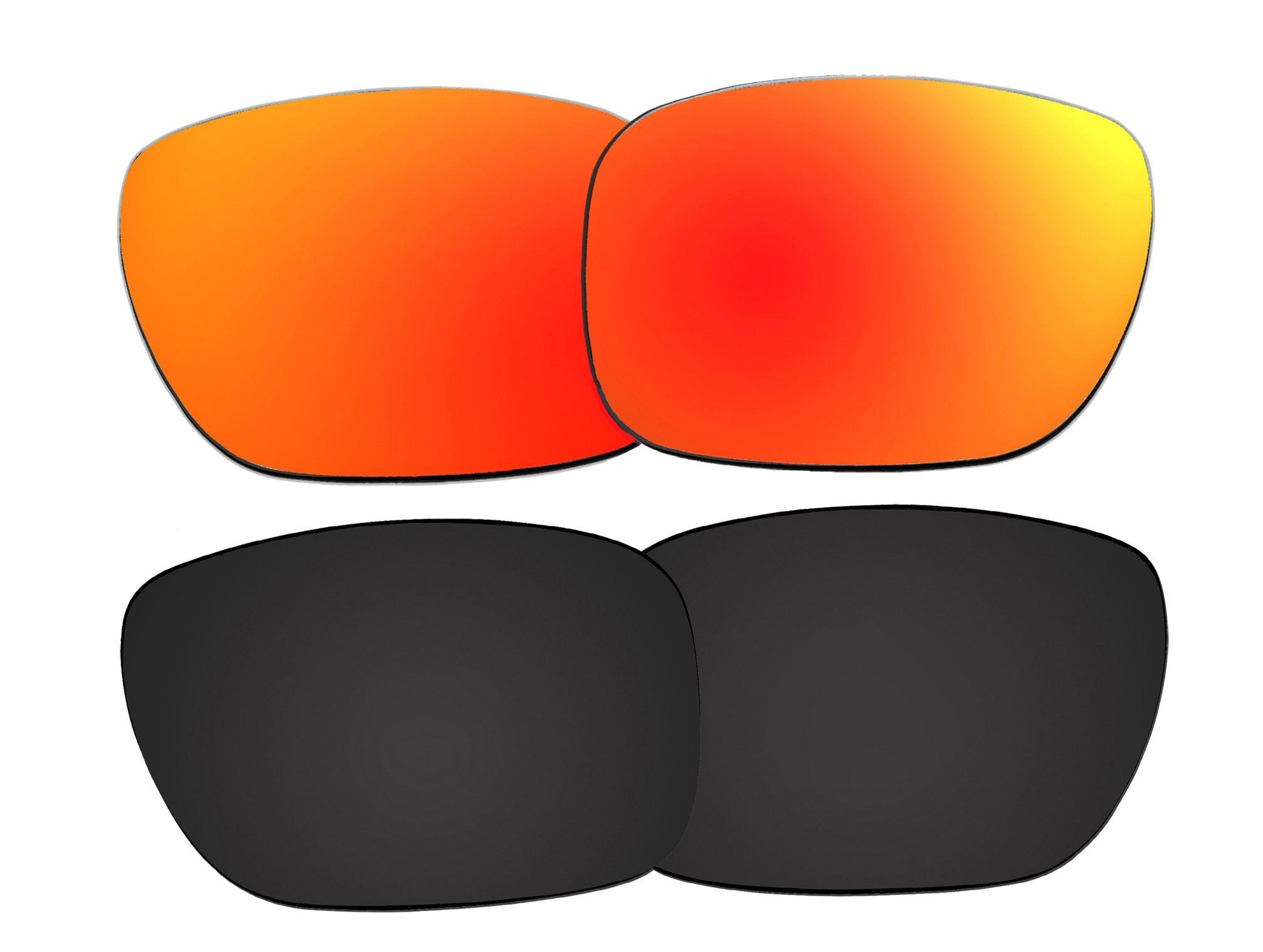 2 Pairs Polarized Replacement Sunglasses Lenses for Oakley Holbrook with UV Protection(Black and Fire Red Mirror)