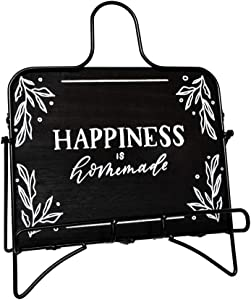 Elim Lily Kitchen Décor Happiness is Home Made Recipe Book Holder Cookbook Stand Tablet Stand. Made of Solid Wood with a Rust-Resistant Metal Frame.