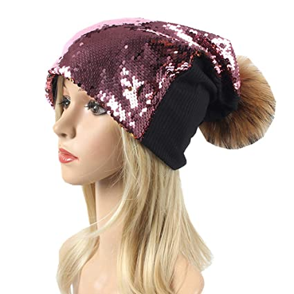 4d119f7330601b Image Unavailable. Image not available for. Color: Mermaid Sequin Beanie  Winter Hat ...