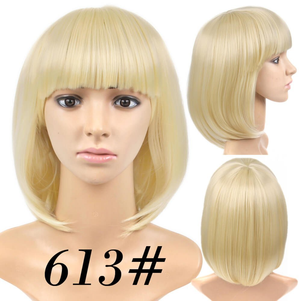 Amazon.com : Best Short Bob Wig Platinum Blonde #613 With Bangs for Women Full Head Colorful Cosplay Daily Party Anime Cheap Synthetic Wigs Straight Real ...