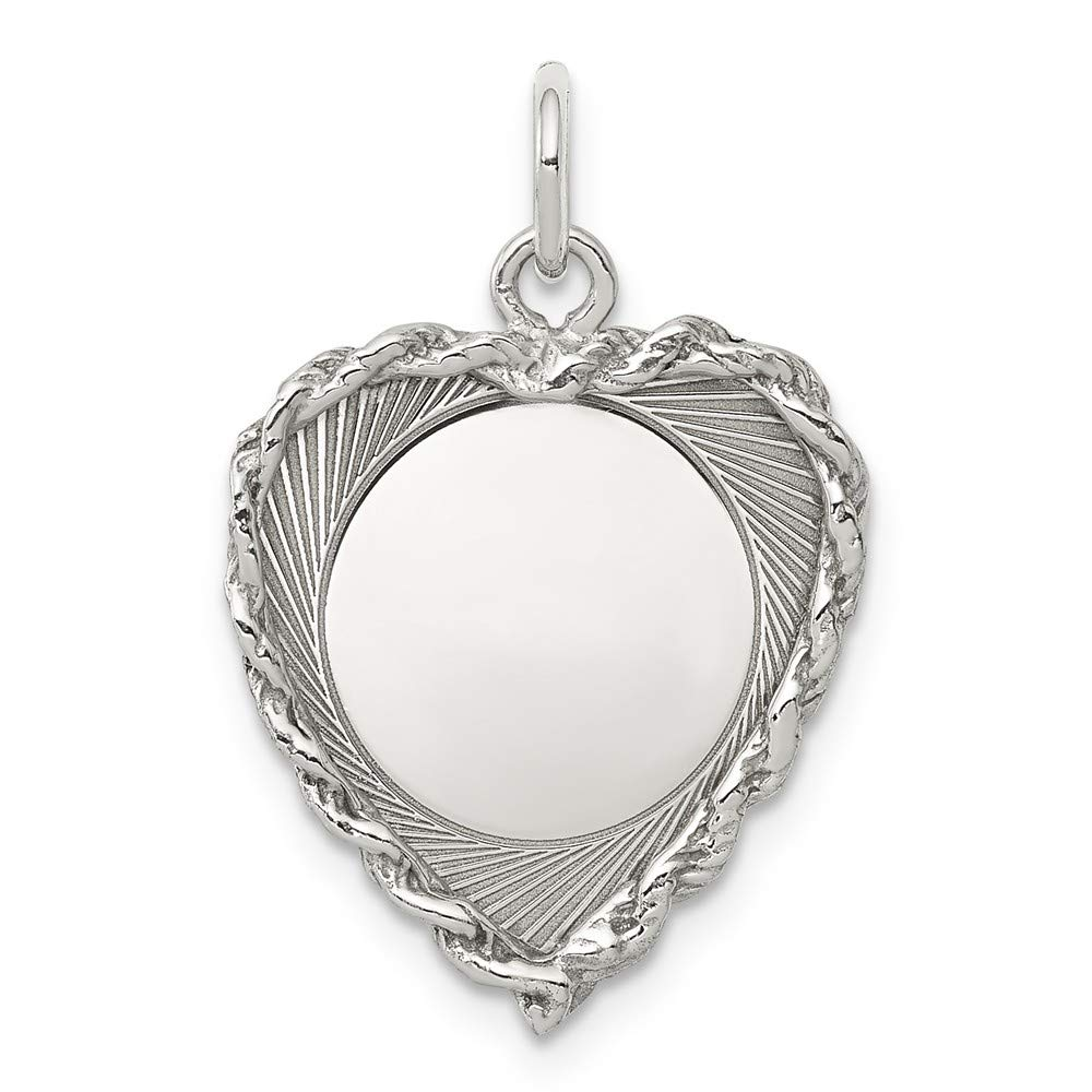 Satin Back Disc Charm Mireval Sterling Silver Anti-Tarnish Treated Engraveable Heart Polished Front
