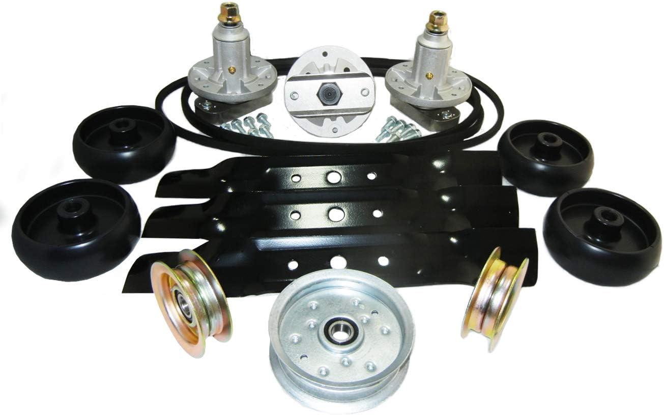Blade Spindle Belt 48/'/' Deck Kit Combo John Deere GX20305 GX20250 L 120 Tractor