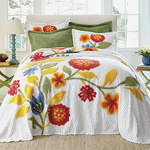 BrylaneHome Bloom Chenille Bedspread (Red Multi,Twin)