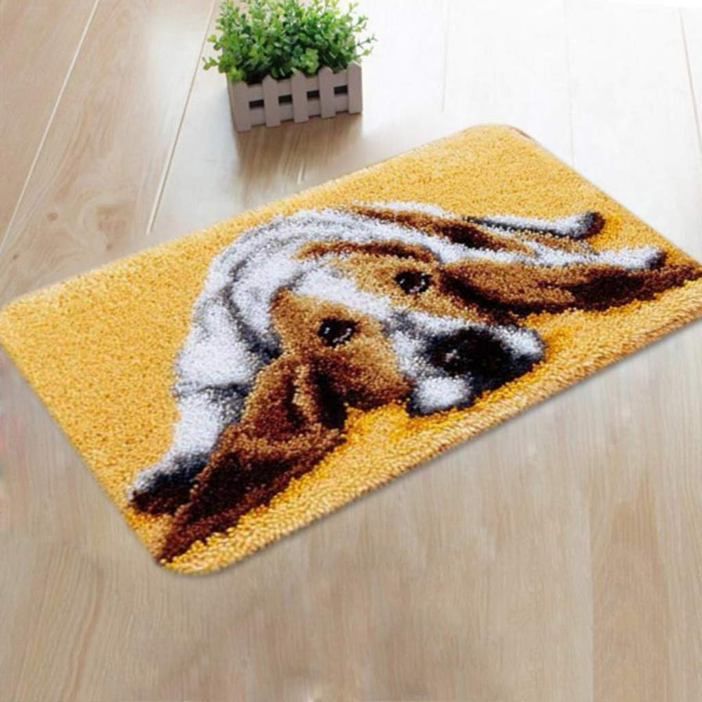 kesoto Puppy Pattern Carpet Latch Hook Rug Kits with Starter Tools for Beginners Children DIY ZD007