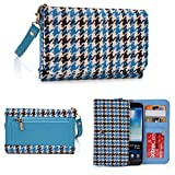 Blue KroO Universal Wristlet Wallet with Card Holders and Bill Fold With Houndstooth Pattern Fits Apple iPhone 6s Plus