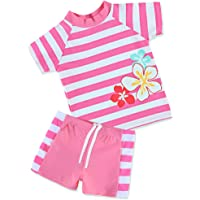TFJH E Girls Swimsuit UPF 50+ UV Kids Two Piece Swimwear Sunsuit 2-6 Years
