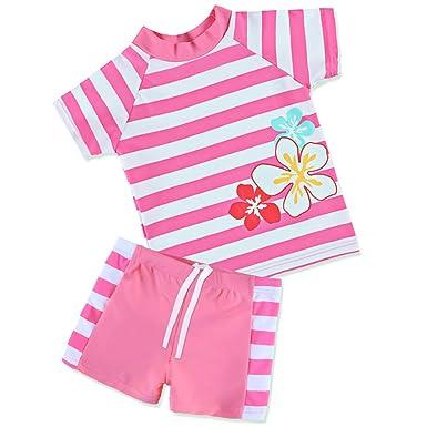 9223a81b37566 Amazon.com: TFJH E Girls Swimsuit 2-6 Years UPF 50+ UV HotPink: Clothing