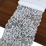 Olive Lace 6 inches Wide White Stretchy lace Ribbon Elastic Trim Fabric with Floral Pattern for Bridal Wedding Decorations, Sewing DIY Making and DIY Crafts-5 Yards