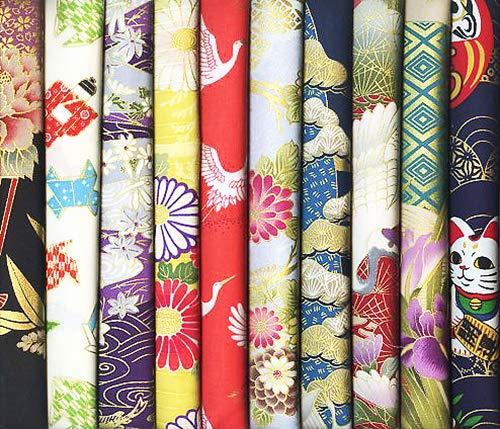 10 Asian Japanese Fat Quarter Quilt Fabric Bundle with Gold Metallic #22 (2 1/2 Yards - Quilt Asian Fabric