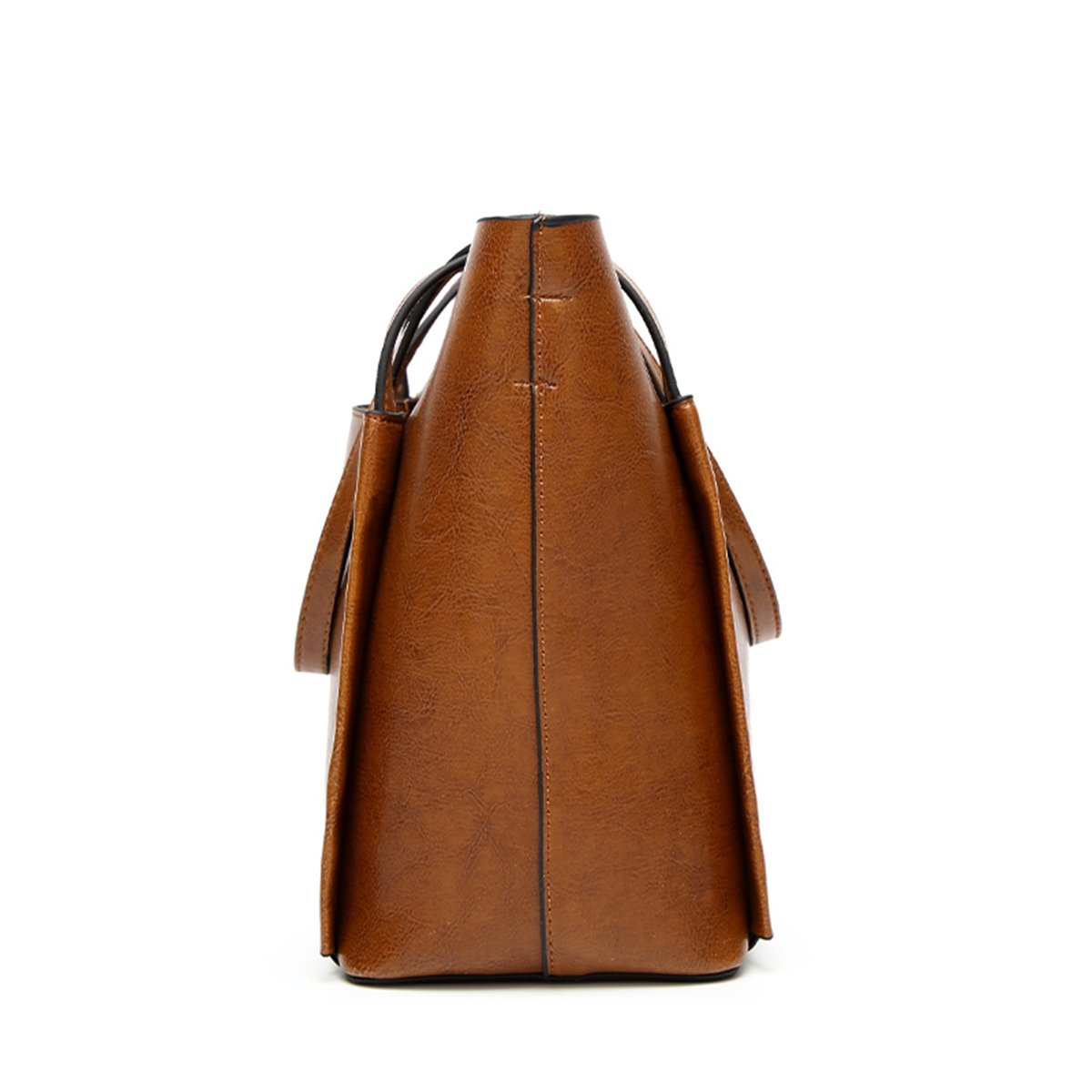 QIN LX Lady Leather Shopping Messenger Purse Top Handle Handbags Women's Shoulder Tote Satchel Bag (brown) by QIN LX (Image #3)