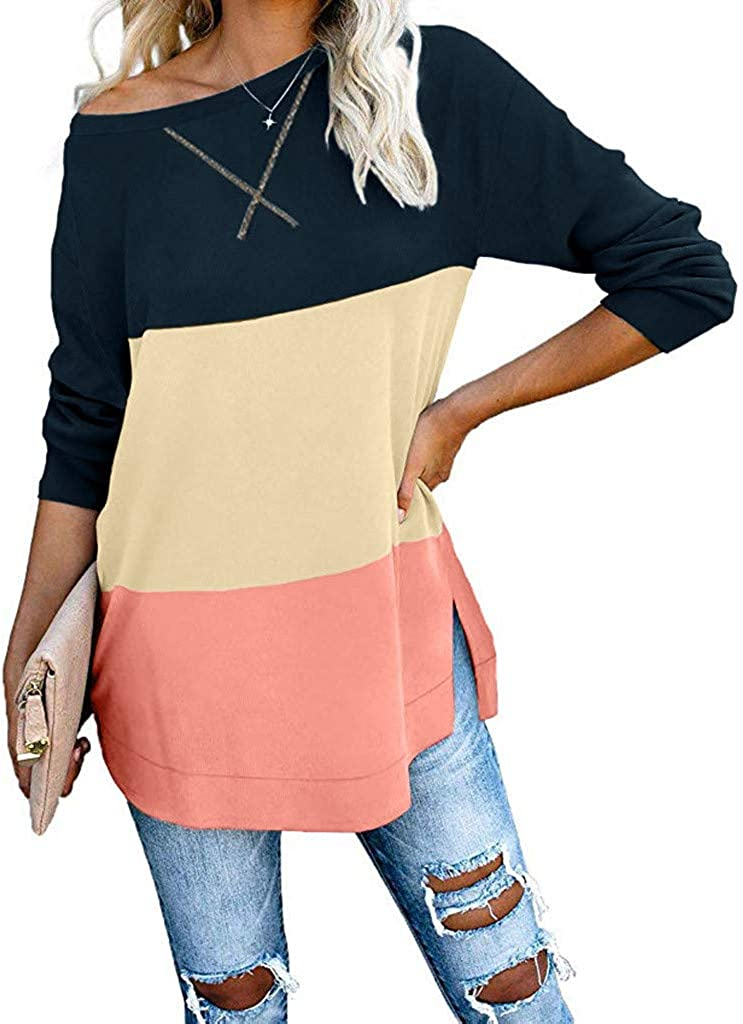 Eoeth Womens Solid Color Stitching Round Neck Pullover Loose Long Sleeve Casual Top Blouse Shirts T-Shirts Tracksuits