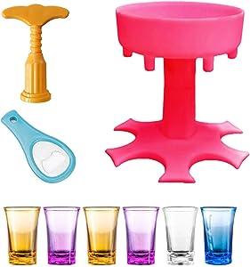 Beverage Dispenser - 6 Shot Glass Dispenser And Holder Set, Shots Dispenser With Bottle Opener And Red Wine Corkscrew, Bar Shot Dispenser, Cocktail Dispenser