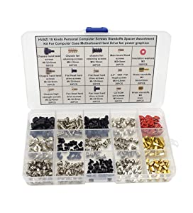 HVAZI 15 Kinds Personal Computer Screws Standoffs Spacer Assortment Kit for Computer Case Motherboard Hard Drive Fan Power Graphics