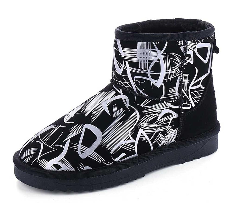CHFSO Women's Stylish Waterproof Faux Fur Lined Pull On Low Heel Platform Ankle Winter Warm Snow Boots