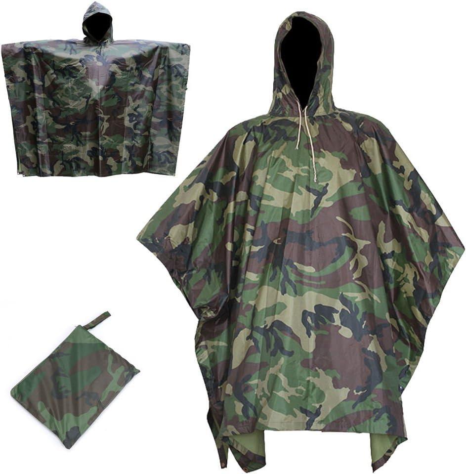 GOTOTOP Militar Impermeable Ej/ército Encapuchado Capa de Lluvia Camuflaje Poncho para C/ámping Excursionismo Deportes al Aire Libre