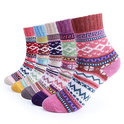 5 Pairs Womens Winter 5 Pairs Women Winter Knitting Thicken Warm Cotton Socks Thermal Socks Assorted Patterns UK4.5-7.5EU 35-40