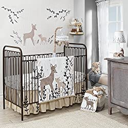 Lambs & Ivy Meadow Unisex 3 Piece Crib Bedding Set, Cream/Brown/White
