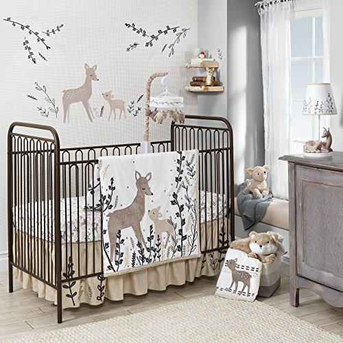 Lambs & Ivy Meadow 3 Piece Crib Bedding Set, Cream/Brown/White