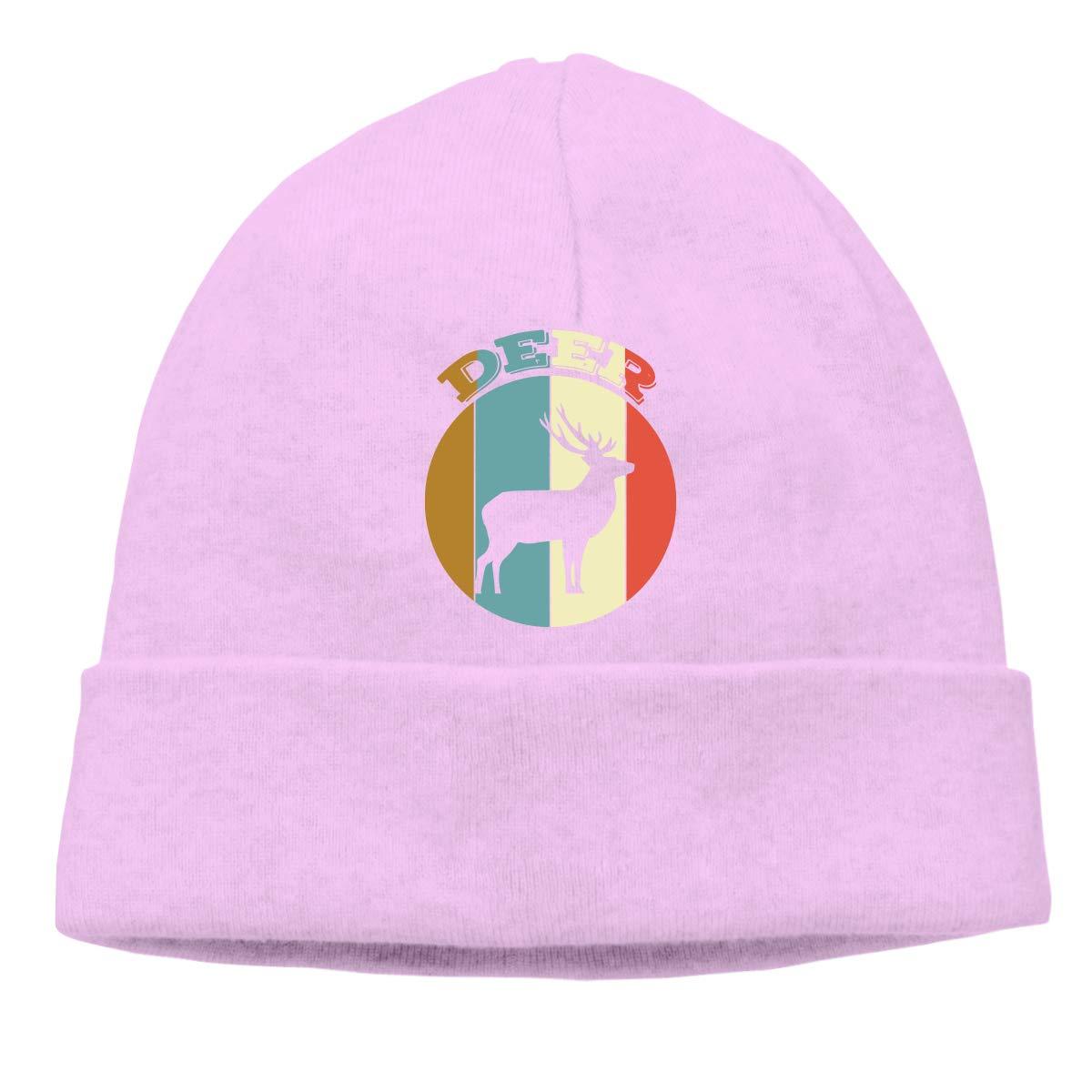 COLLJL8 Unisex Deer Retro Outdoor Warm Beanies Hat Soft Winter Skull Caps