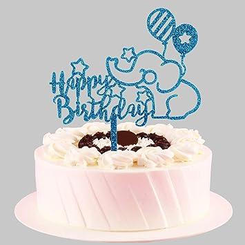 Amazon.com: Decoración para tarta de cumpleaños con elefante ...