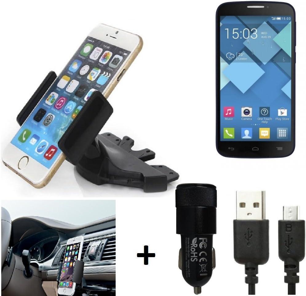 K-S-Trade® Top Set para Alcatel Pop C7 Soporte Ranura de CD Smartphone Coche para los Dispositivos de navegación/teléfonos Inteligentes Montaje de la Radio Hecho Smartphone teléfono móvil: Amazon.es: Electrónica