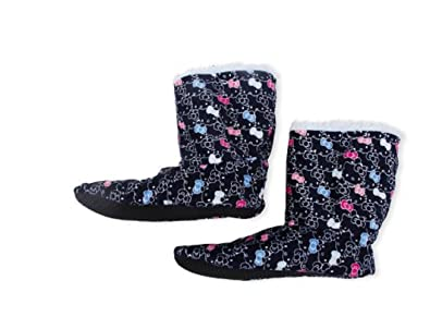 c8d550e38 Amazon.com | Hello Kitty Printed Fuzzy Babba Bootie Slipper Socks (S/M  5-7.5, Booties) | Slippers