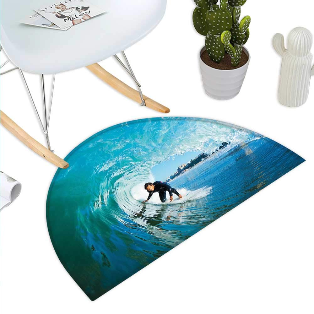 color14 H 27.5\ Wave Semicircle Doormat Extreme Sportsman Surfer Inside Barreled Wave Fun Action Holiday Vacation Halfmoon doormats H 27.5  xD 41.3  Turquoise Light bluee