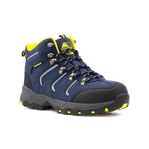Earth Works Safety - Zapato de seguridad, acordonado, negro y azul, para hombre EarthWorks - Talla 8 UK / 42 EU - Negro