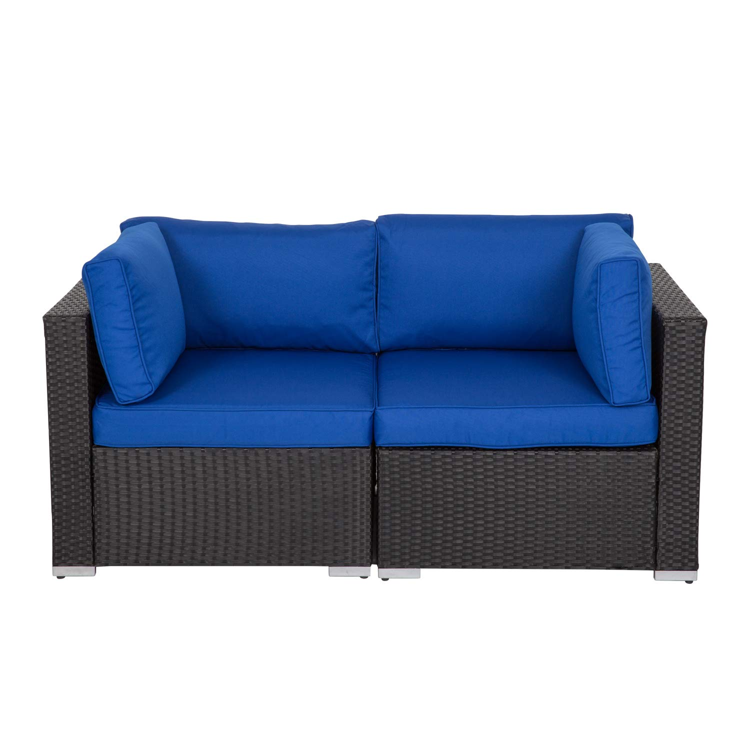 Kinbor Patio Wicker Furniture Outdoor Garden Love Seat Chair Couch Sofa Black with Royal Blue Cushion by Kinbor