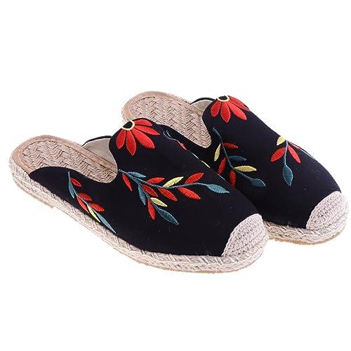 Sharplace 1 Par Zapatos Planos de Mujer Hombre Bordado de Flores Zapatillas sin Talón Sandalias de Pescador par Playa al Aire Libre: Amazon.es: Zapatos y ...