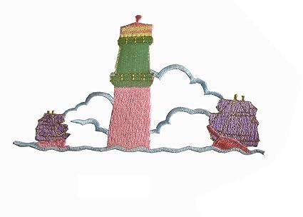 Seashell applique sequin beaded purple nautical patch