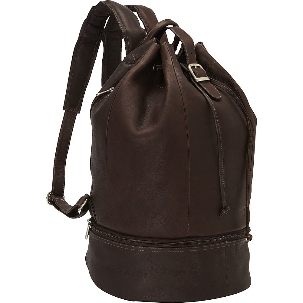Piel Leather Navy Drawstring Backpack Chocolate