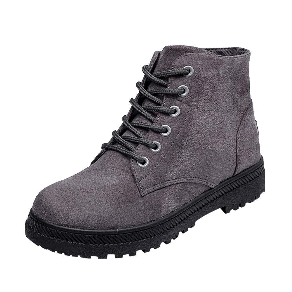 ❤ Botas Casuales de Mujer, Botines para Mujer Zapatos de Lona Ocasionales Zapatos Planos de Estudiante Botas con Cordones Absolute: Amazon.es: Ropa y ...
