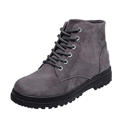 OHQ Botines para Mujer Zapatos De Lona Ocasionales Zapatos Planos De Estudiante Botas con Cordones: Amazon.es: Zapatos y complementos