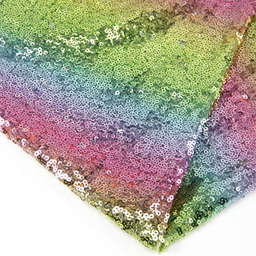 Sequin Fabric for Sewing Costumes Sequin Knit Fabric Shiny Dot Table Runner (Rainbow 1#, 0.5 Meter Length) -