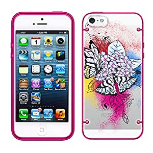 iPhone 5C Butterfly Paradise on Clear with Glow Pink Trim Case