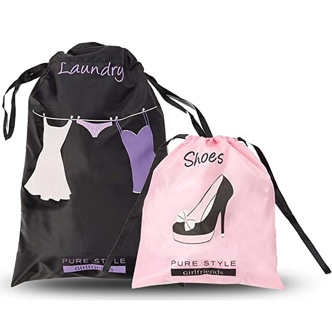 PURE STYLE Girlfriends Womens Travel Drawstring Bag Set Shoe and Laundry