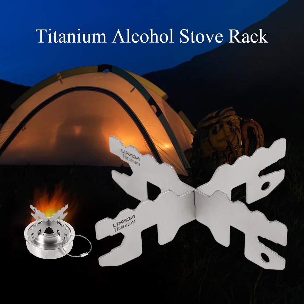 Lixada Titanium Alkohol Herd Rack Cross Stand Outdoor Camping Herd Stand Support Rack