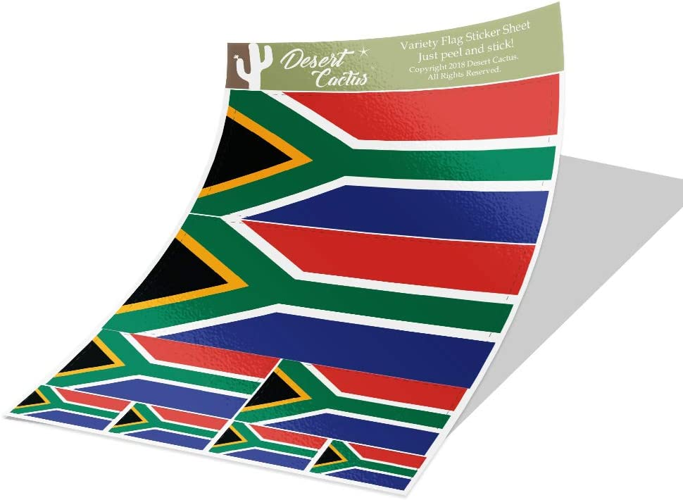 South Africa Country Flag Sticker Decal Variety Size Pack 8 Total Pieces Kids Logo Scrapbook Car Vinyl Window Bumper Laptop V
