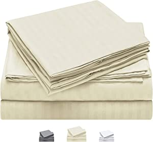 HOMEIDEAS Bed Sheets Set Extra Soft Brushed Microfiber 1800 Bedding Sheets - Deep Pocket, Wrinkle & Fade Free - 4 Piece(Queen, Striped Beige)