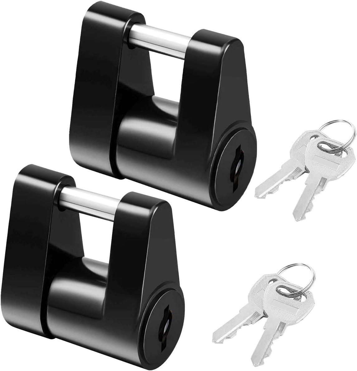 LCGP 2PCS Black Trailer Hitch Coupler Locks Dia 1//4 Inch 3//4 Inch Span Boat RV Truck Cars Coupler