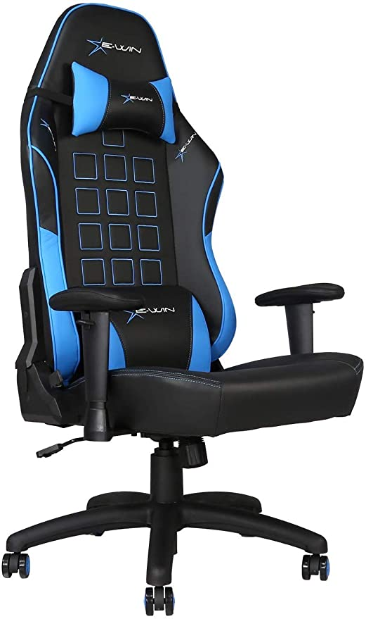 Surprising E Win Gaming 400 Lb Big And Tall Office Chair Ergonomic Racing Style Design With Wide Seat High Back Adjustable Armrest Black Blue Theyellowbook Wood Chair Design Ideas Theyellowbookinfo