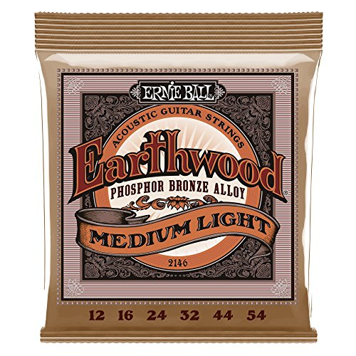 Ernie Ball 2146 Earthwood Medium Light Acoustic Phosphor Bronze String Set (12 - - Lite 12 Bronze String